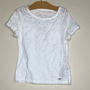 Abercrombie white patterned shirt